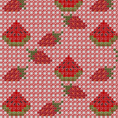Strawberry and Watermelon Chickenscratch Gingham