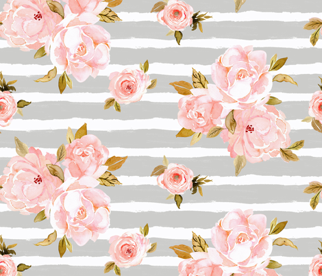 blush rose gray stripe fabric by crystal_walen on Spoonflower - custom fabric