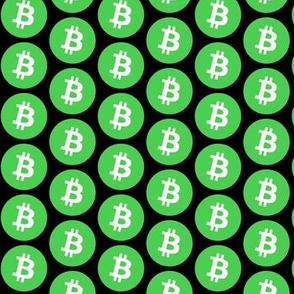 Green Bitcoin on Black // Small
