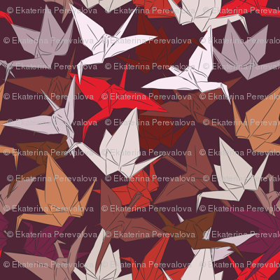 Japanese Origami paper cranes symbol of happiness, luck and longevity