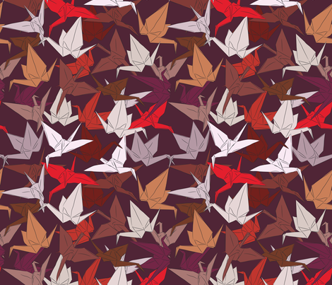 Japanese Origami paper cranes symbol of happiness, luck and longevity fabric by ekaterinap on Spoonflower - custom fabric