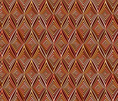African geometric tiles with brown striped rhombus fabric by ekaterinap on Spoonflower - custom fabric