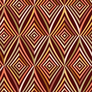 African geometric tiles with brown striped rhombus
