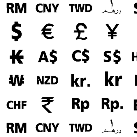Currency Symbols Fabric Thinlinetextiles Spoonflower