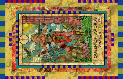 QUEEN OF SWORDS AMAZON TAROT CARD PANEL MINOR ARCANA fabric by floweryhat on Spoonflower - custom fabric
