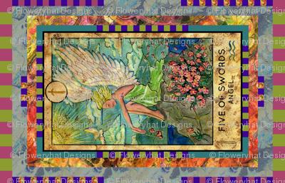 FIVE OF SWORDS ANGEL TAROT CARD PANEL minor arcana