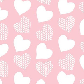 Wool hearts // pastel pink background white hearts