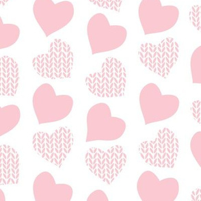 Wool hearts // white background pastel pink hearts