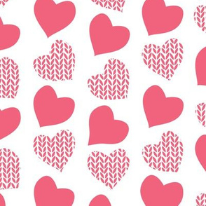 Wool hearts // white background pink hearts