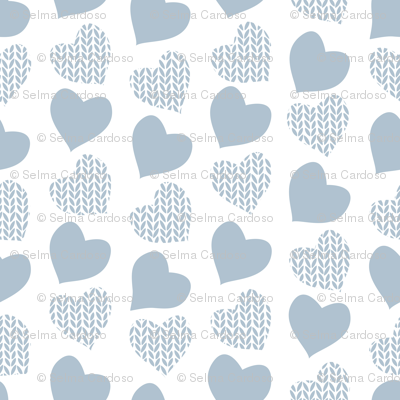 Wool hearts // white background blue grey hearts