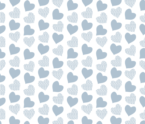 Wool hearts // white background blue grey hearts fabric by selmacardoso on Spoonflower - custom fabric
