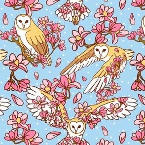 barn owl and magnolias