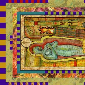 SEVEN OF WANDS MUMMY TAROT CARD PANEL minor arcana