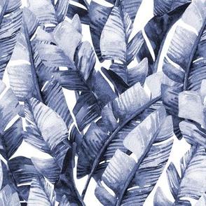 "8"" Tropical Banana Leaves // Denim Blue"