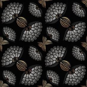 Bold Black & Gold Floral Motif