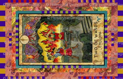 TWO OF WANDS CYCLOPS TAROT CARD PANEL minor arcana