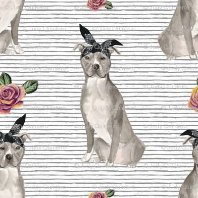 """4"""" Pit Life - Grey Floral with Stripes"""