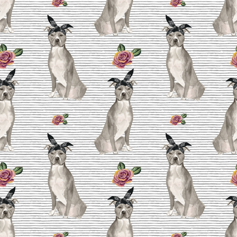 """4"""" Pit Life - Grey Floral with Stripes fabric by rebelmod on Spoonflower - custom fabric"""