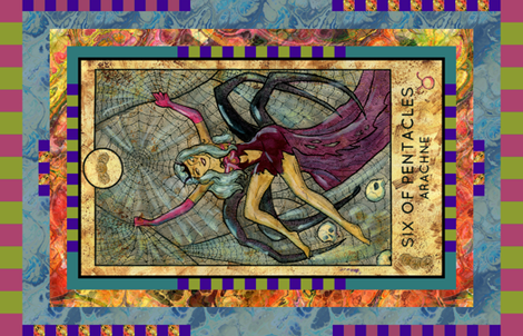 SIX OF PENTACLES ARACHNE TAROT CARD PANEL minor arcana fabric by floweryhat on Spoonflower - custom fabric