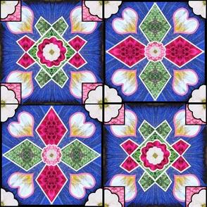 Spanish Tile Blue Rose White