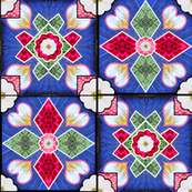 Spanish Tile Blue Rose White