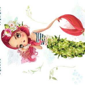 """56""""x36""""Pink Hair  Mermaid / Quote"""