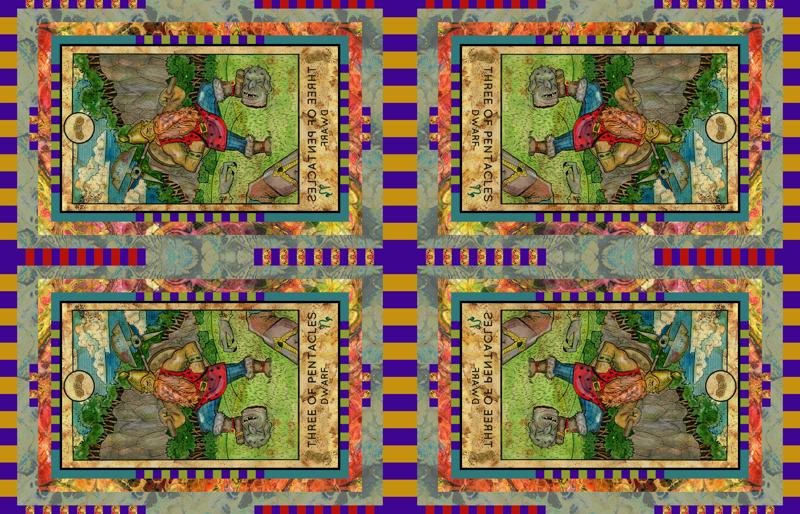 THREE OF PENTACLES DWARF TAROT CARD PANEL minor arcana