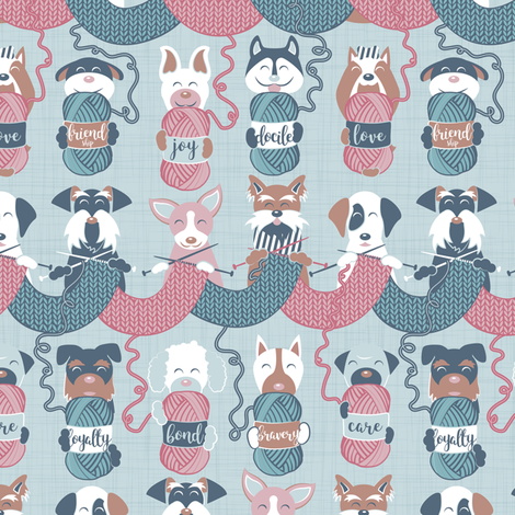 Knitting dog feelings III // small scale fabric by selmacardoso on Spoonflower - custom fabric