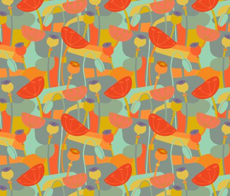 angular-orange-poppies fabric by wren_leyland on Spoonflower - custom fabric