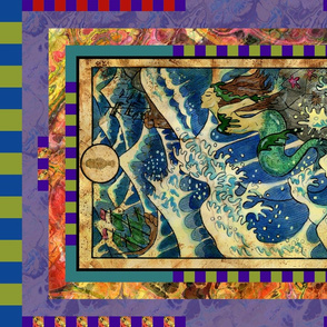 FIVE OF CUPS MERMAID TAROT CARD PANEL minor arcana HORIZONTAL