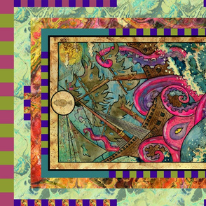 NINE OF CUPS KRAKEN TAROT CARD PANEL MINOR ARCANA  HORIZONTAL
