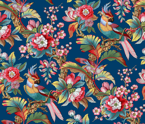Edwardian Parrot ~ Bright on Lonely Angel  fabric by peacoquettedesigns on Spoonflower - custom fabric