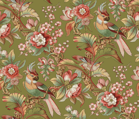 Edwardian Parrot ~ Dogwood Dream on Thomas  fabric by peacoquettedesigns on Spoonflower - custom fabric