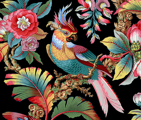 Edwardian Parrot ~ Bright on Black    fabric by peacoquettedesigns on Spoonflower - custom fabric
