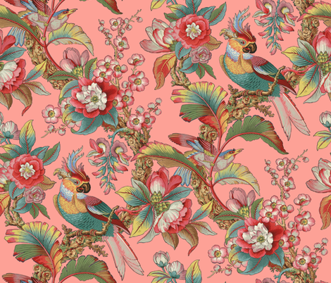 Edwardian Parrot ~ Duchess  fabric by peacoquettedesigns on Spoonflower - custom fabric