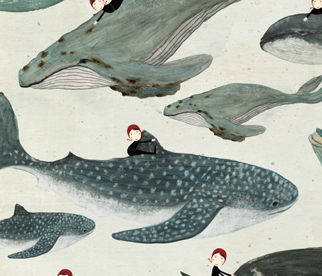 Tara the whale rider {large} fabric by katherine_quinn on Spoonflower - custom fabric