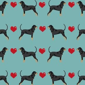 coonhound love hearts dog breed fabric turquoise