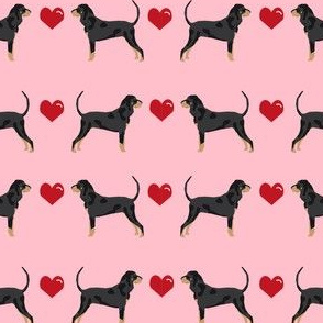 coonhound love hearts dog breed fabric pink
