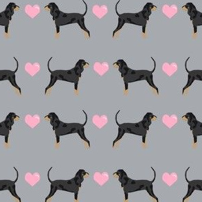 coonhound love hearts dog breed fabric grey