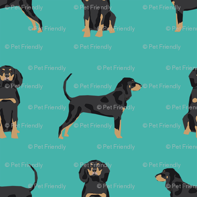 coonhound simple dog breed fabric turquoise