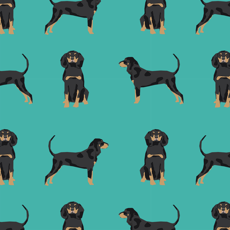 coonhound simple dog breed fabric turquoise fabric by petfriendly on Spoonflower - custom fabric