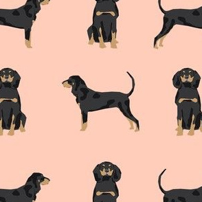 coonhound simple dog breed fabric pastel pink