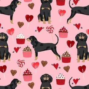 coonhound valentines love hearts cupcakes dog fabric pink