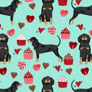 coonhound valentines love hearts cupcakes dog fabric turquoise