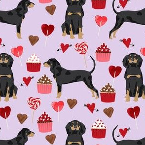 coonhound valentines love hearts cupcakes dog fabric purple