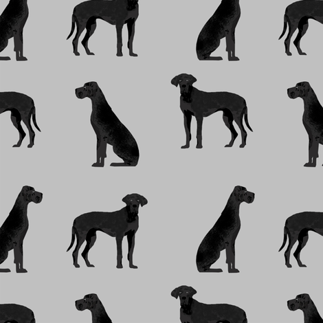 great dane black simple dog breed fabric grey fabric by petfriendly on Spoonflower - custom fabric