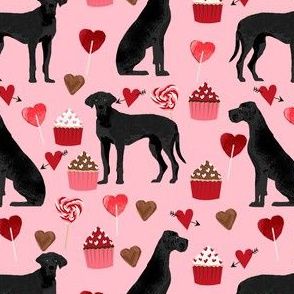 great dane black coat valentines love cupcakes hearts pink