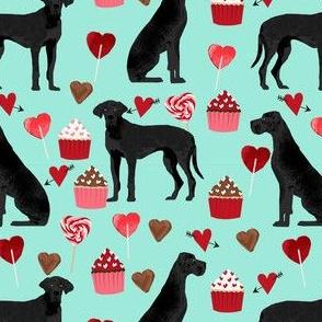 great dane black coat valentines love cupcakes hearts turquoise