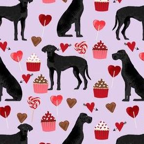 great dane black coat valentines love cupcakes hearts purple