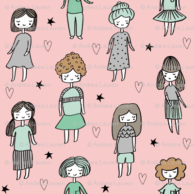 girls // people little girls fabric faces pink
